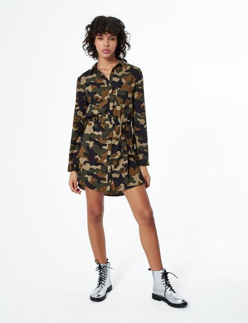 Robe chemise camouflage kaki