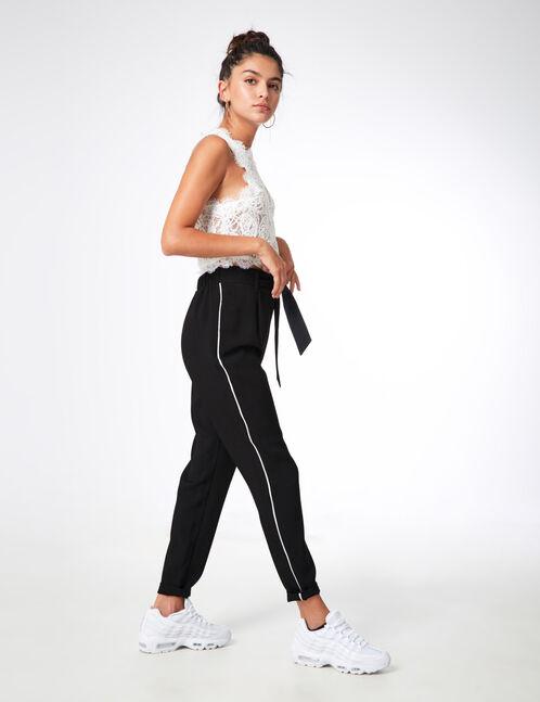 pantalon ceinture à nouer noir