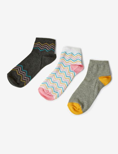 chaussettes grises, blanches, bleues, roses et jaunes chevron