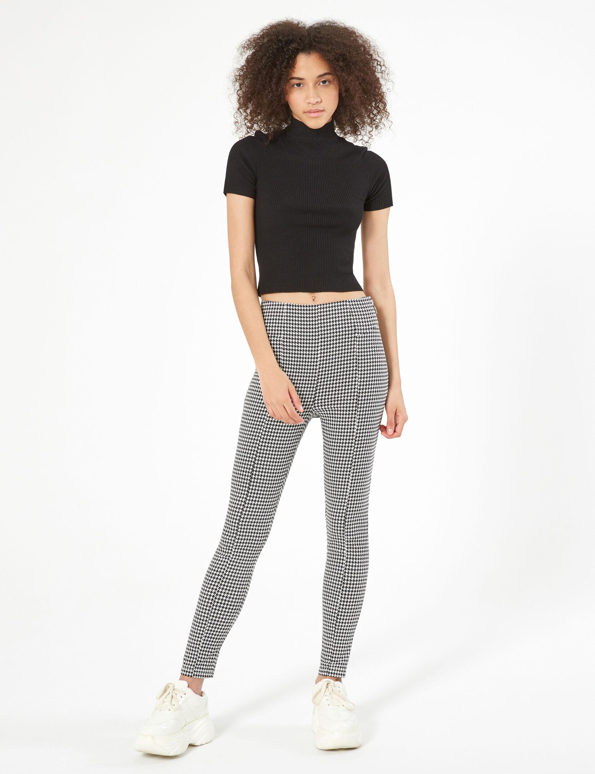 Pantalon zippé pied-de-poule