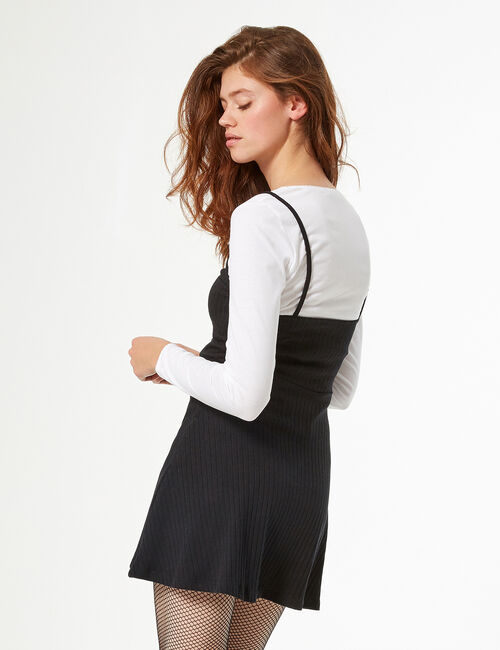 Dress with t-shirt under layer
