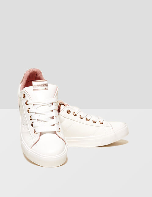 White trainers with pink detail