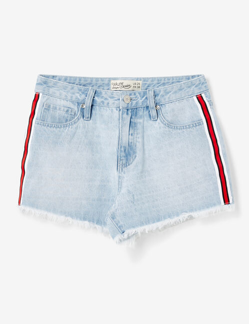 Light blue shorts with striped trim detail