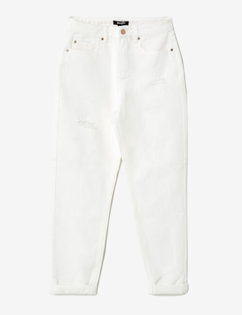 White distressed mom trousers