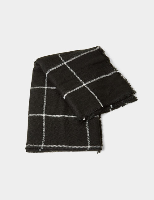 Black and white tartan scarf