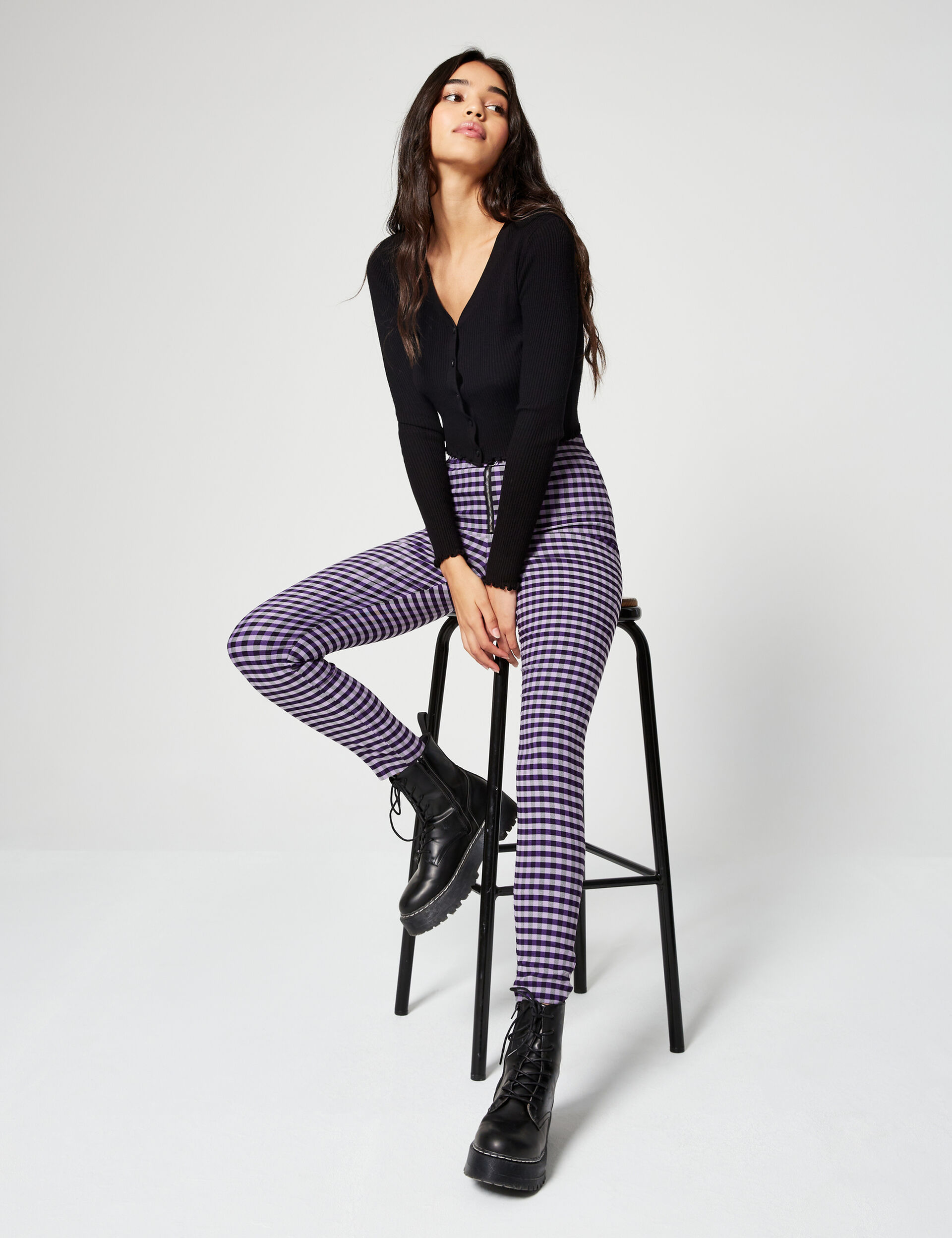 Gingham trousers with buckle