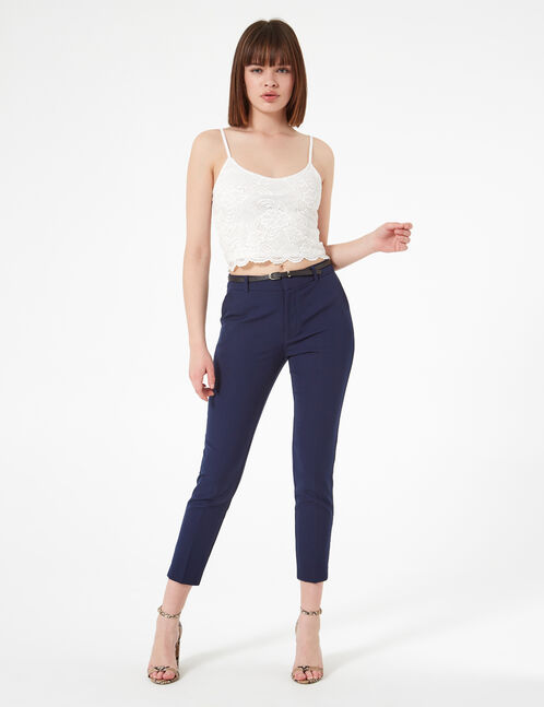 Navy blue tailored trousers with belt