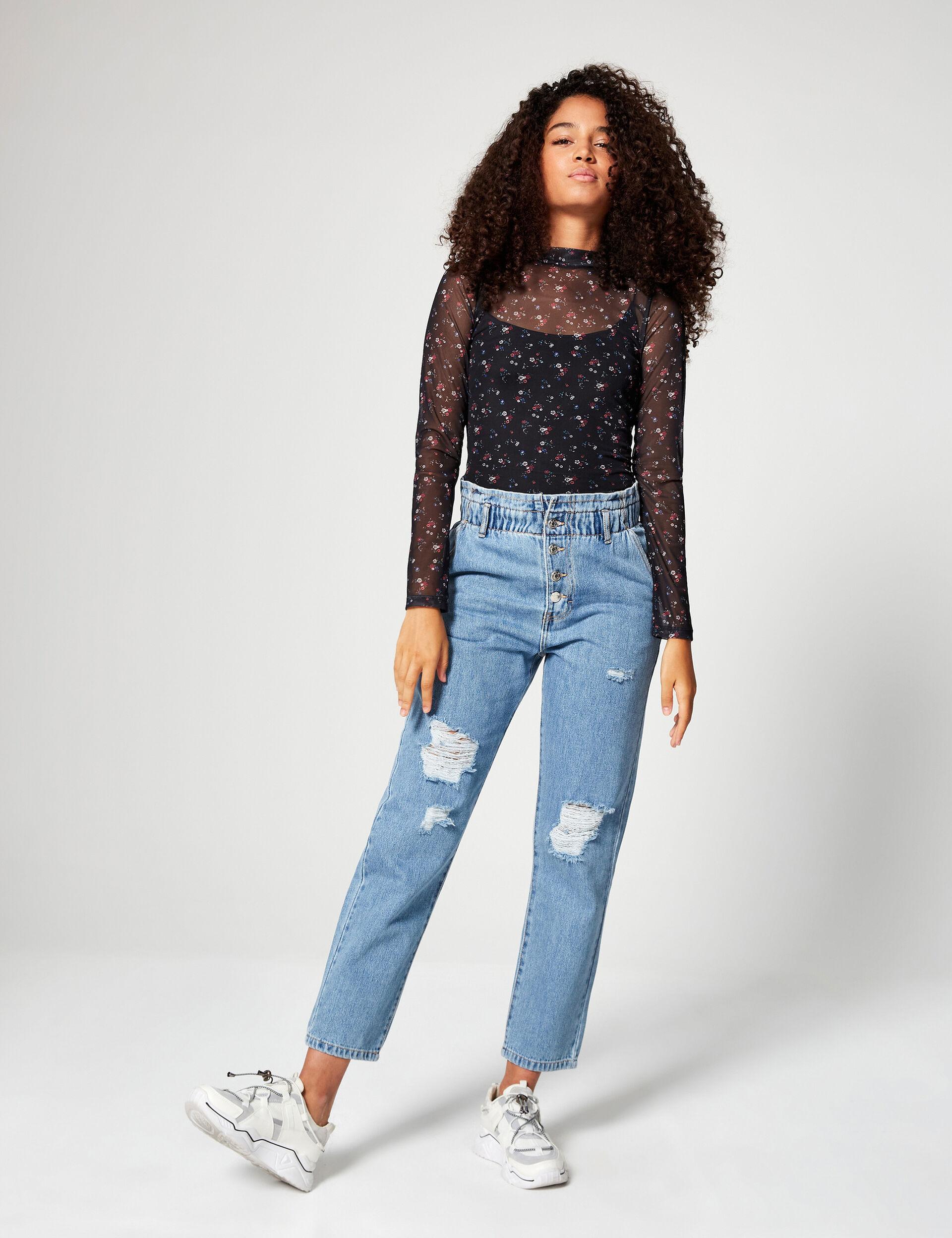 High-waisted boyfriend jeans