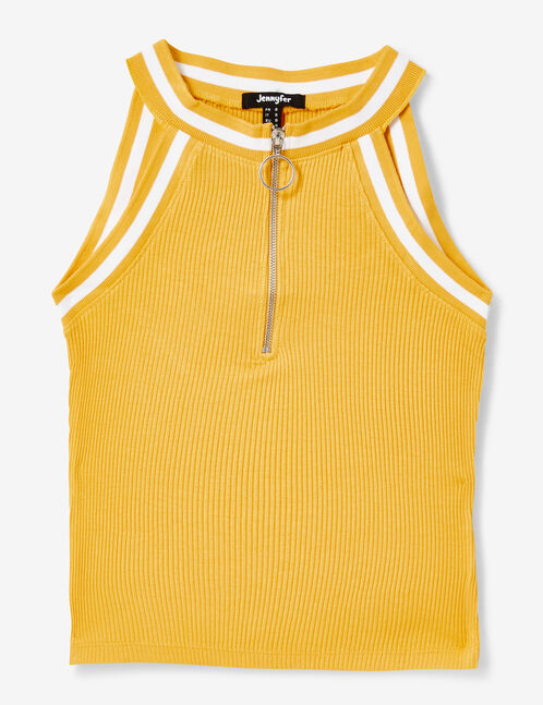top zippé jaune