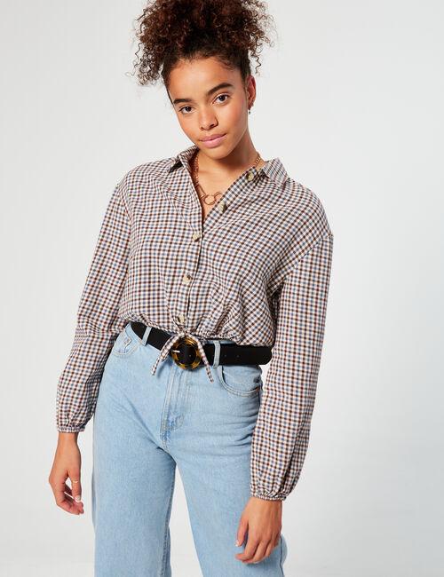 Chemise courte à carreaux
