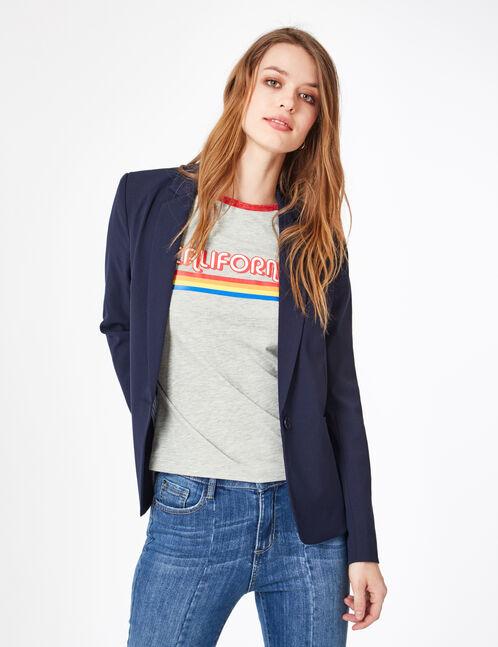 tee-shirt bicolore à message balnc et rouge chiné