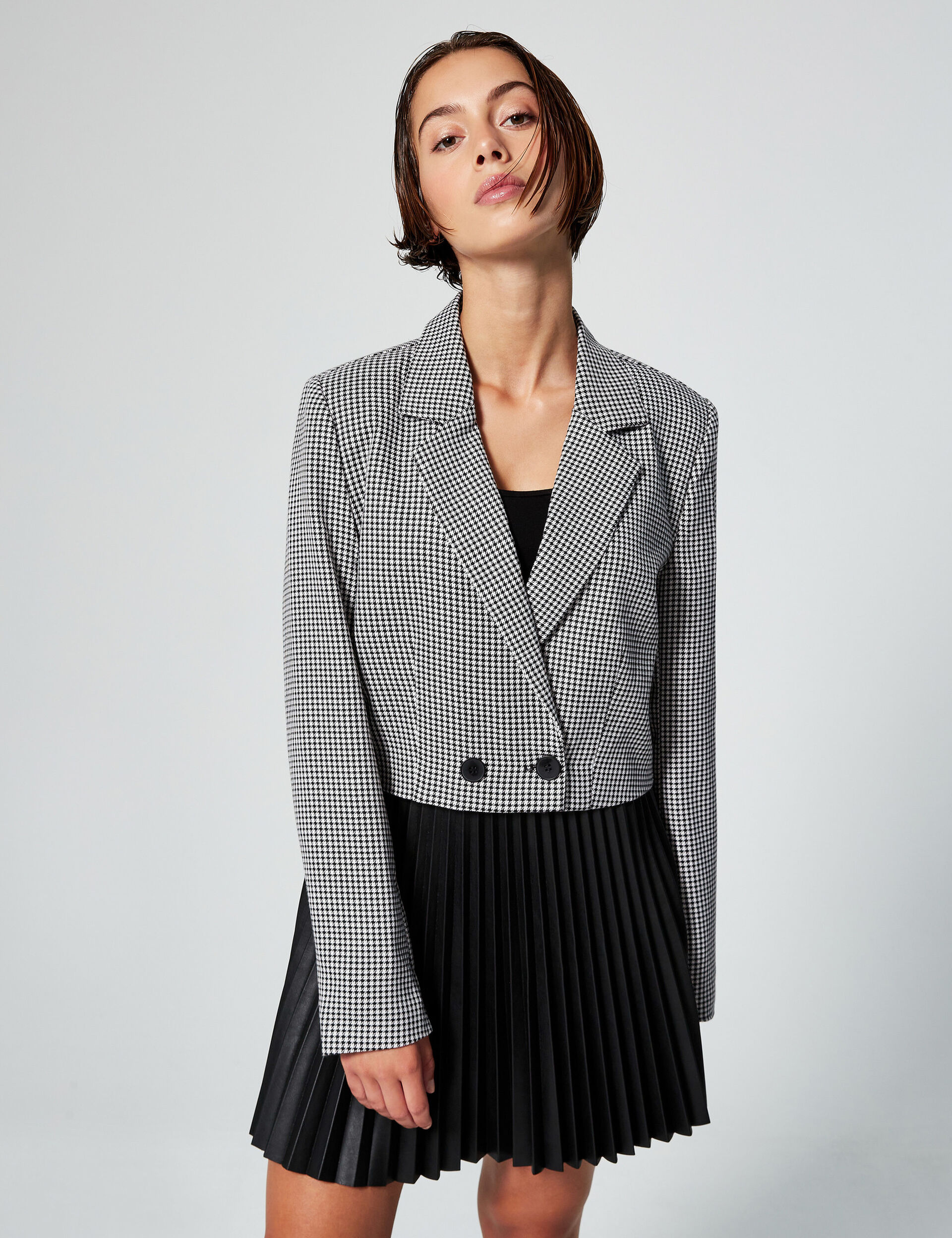Cropped printed blazer
