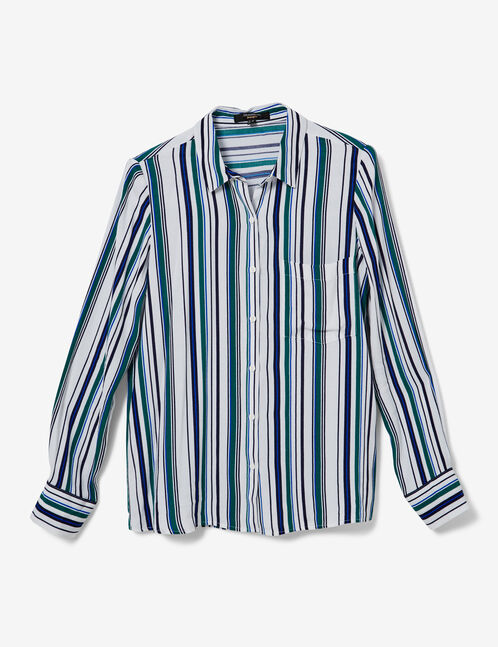 chemise rayée blanche, bleue et verte