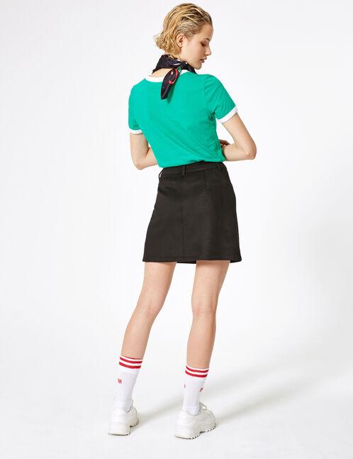 jupe boutonnée en suédine noire