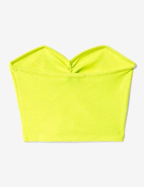 Neon yellow bustier crop top