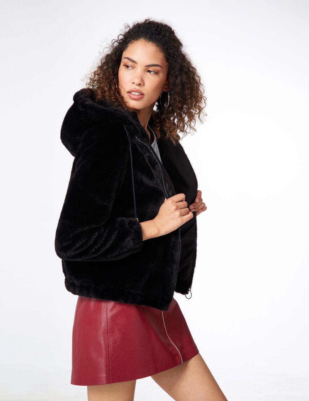 Manteau Imitation Fourrure Noir Femme Jennyfer