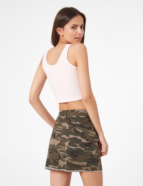 Khaki camouflage skirt with pockets
