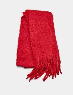Product Écharpe, rouge, matière texturée, finitions bords francs, franges.  Photos retouchéesMarque Jennyfer Catégorie écharpes + foulards