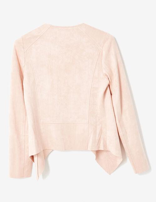 veste en suédine rose clair