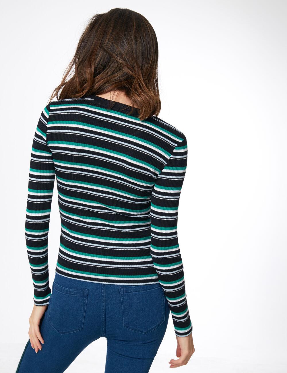 Tee-shirt côtelé rayé noir, vert, blanc et bleu clair
