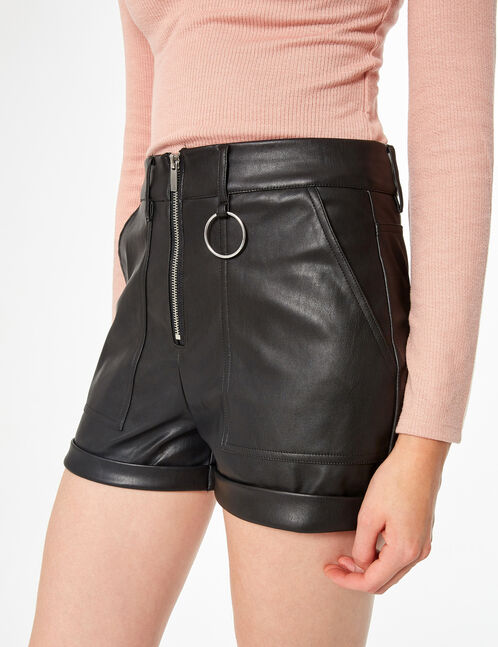 Faux-leather high-waisted shorts