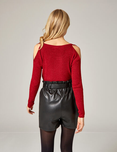 Red cold shoulder jumper