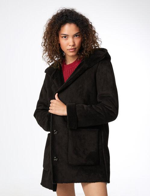 Long black faux suede jacket