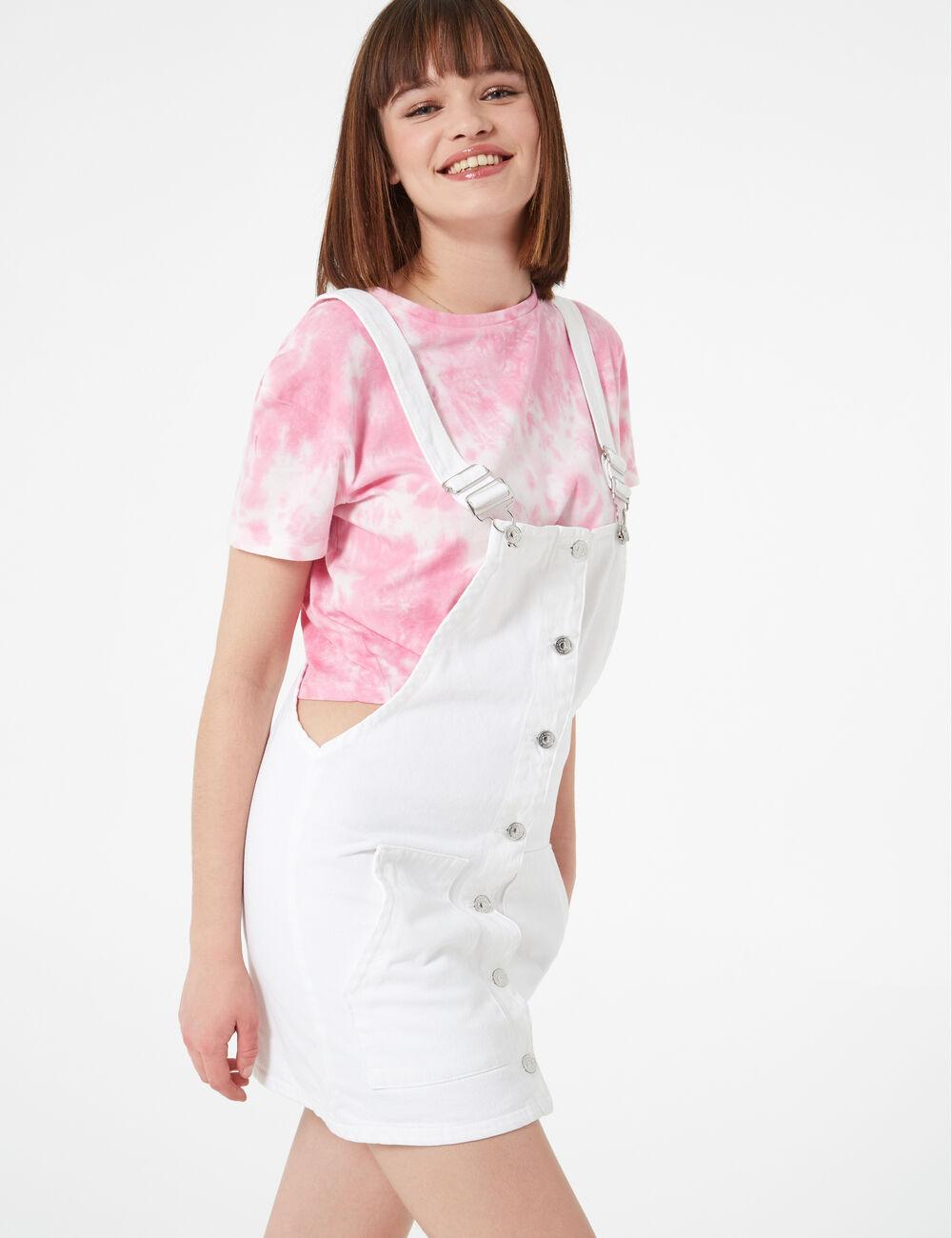 b77133a750f White denim pinafore dress woman • Jennyfer