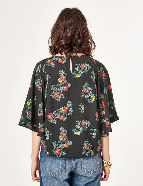 blouse fleurie noire