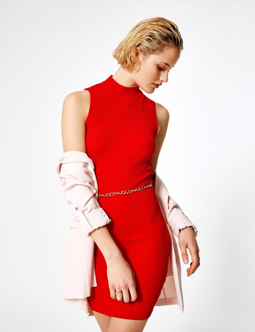 b63f7624b40e3 Robe pull sans manches rouge femme • Jennyfer