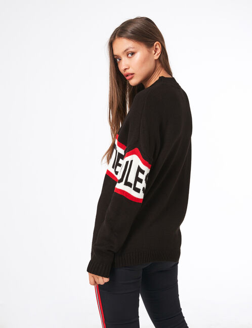 Black jumper with text design detail