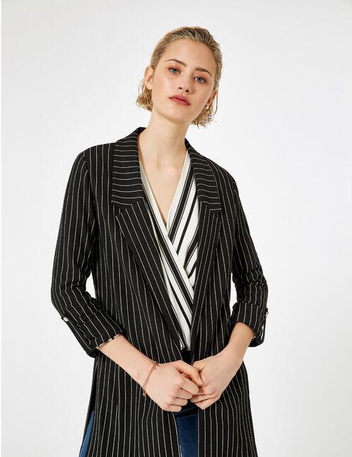 Long black and white striped blazer