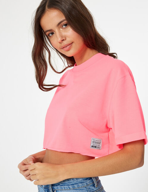 sweat crop manches courtes rose fluo