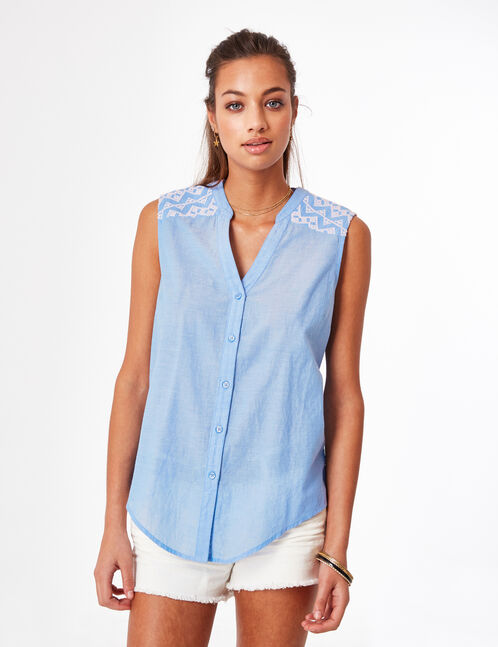 Light blue blouse with embroidery