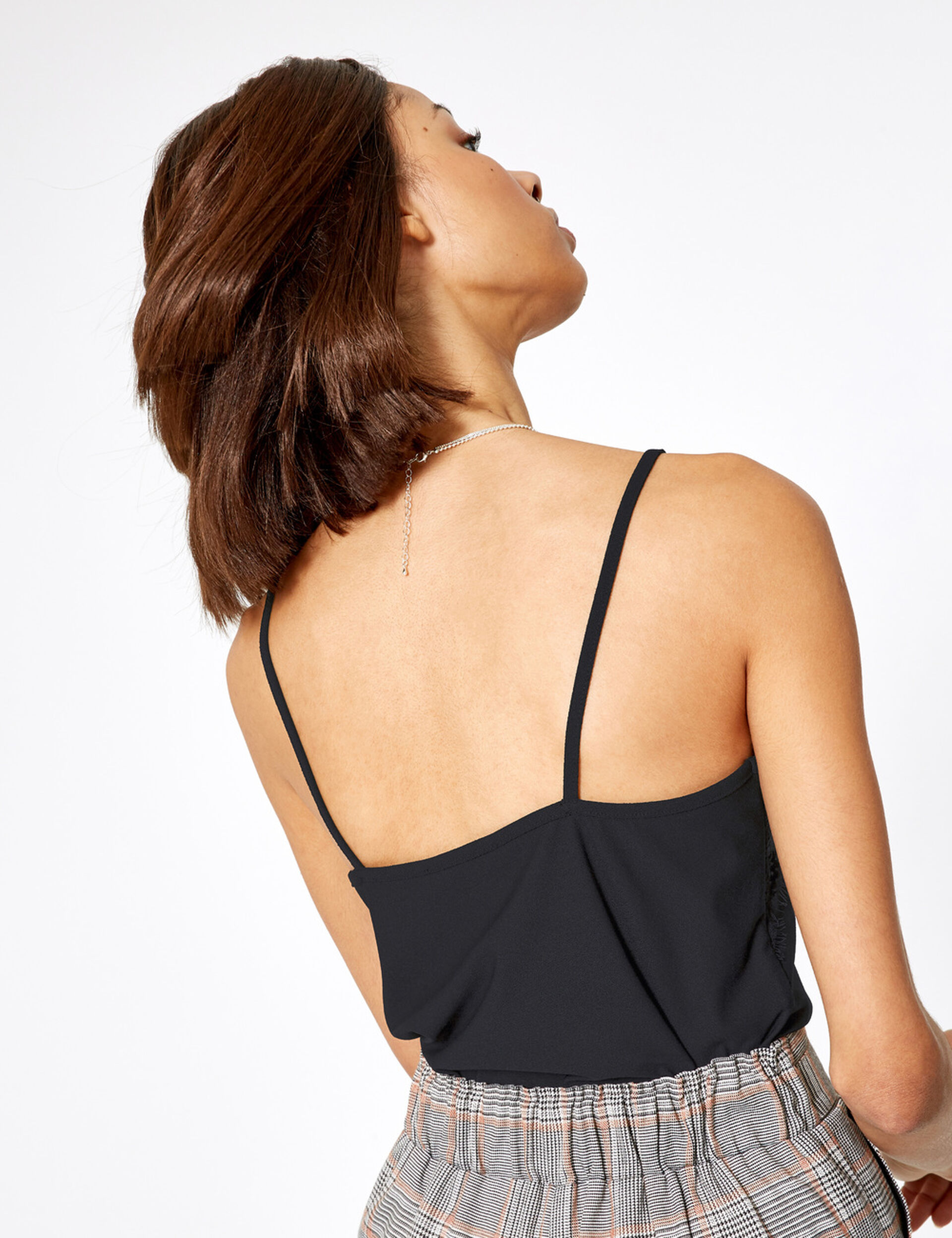 Black tank top with lace panel detail