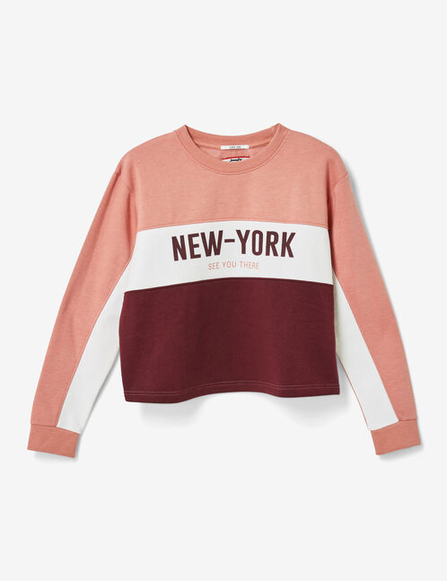 sweat tricolore new york prune, blanc et rose clair