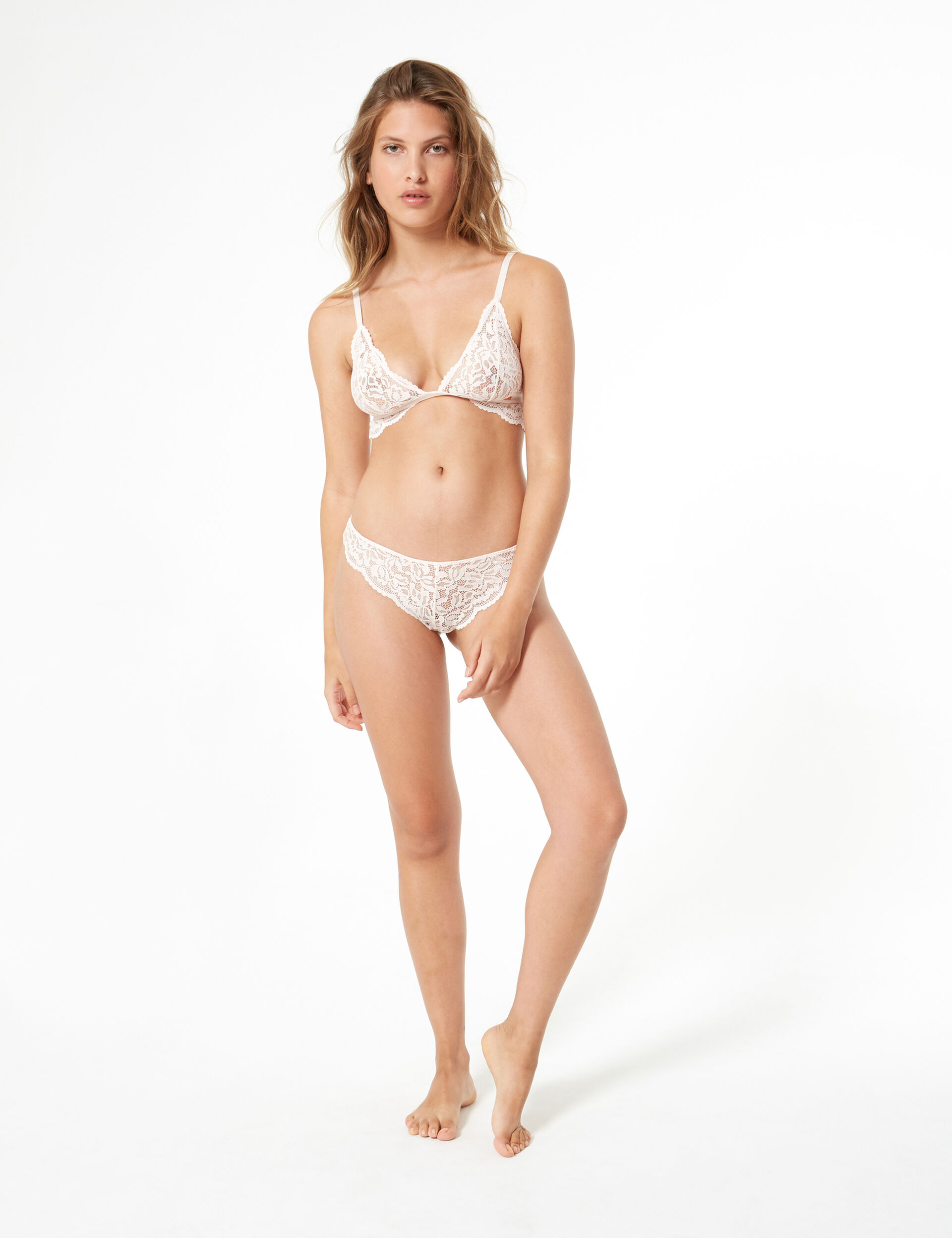Dual lace thong