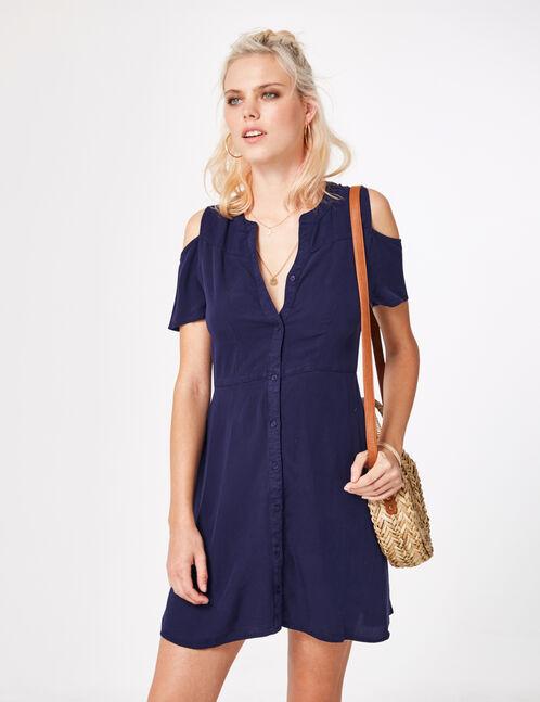 robe épaules ajourées bleu marine
