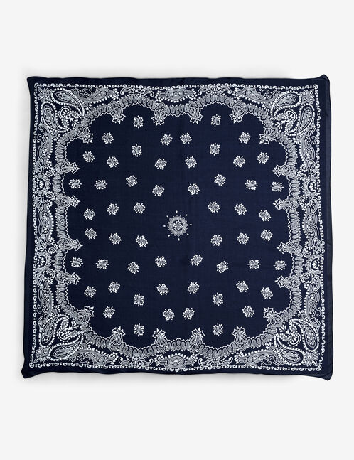 foulard imprimé cachemire bleu et blanc