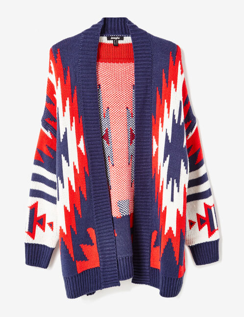 Navy blue, cream and red Aztec-patterned cardigan