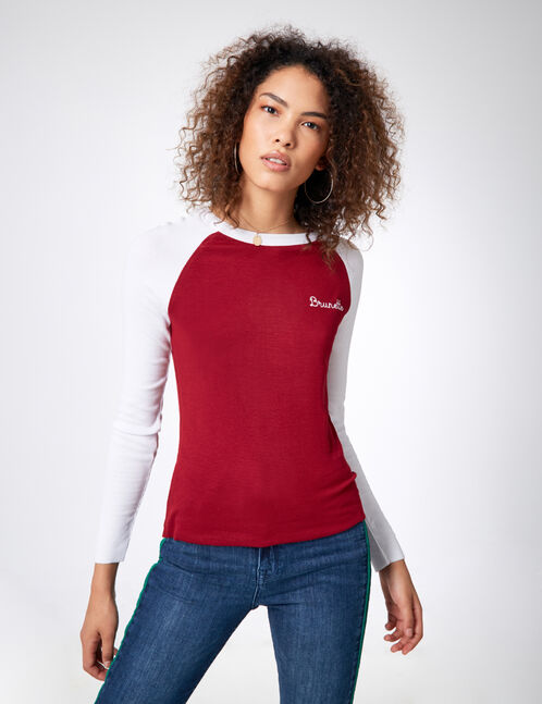 "Burgundy and white two-tone ""brunette"" top"