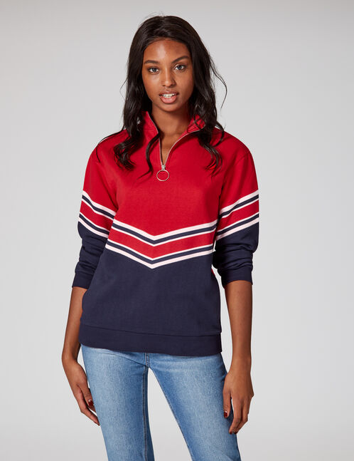 Long navy blue and red sweatshirt with chevron detail