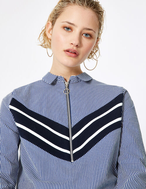 Navy blue and cream striped shirt with chevron detail