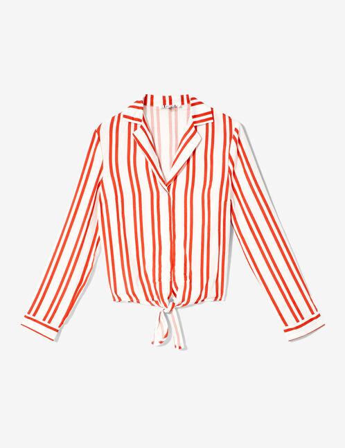 chemise rayée à nouer rouge et blanc