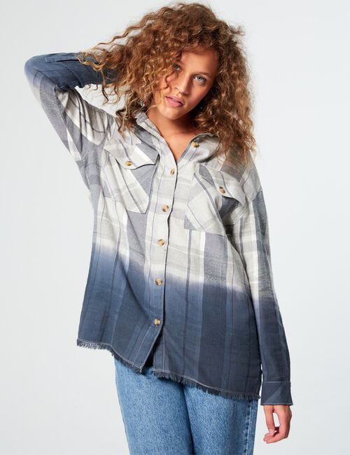 Chemise à carreaux franges