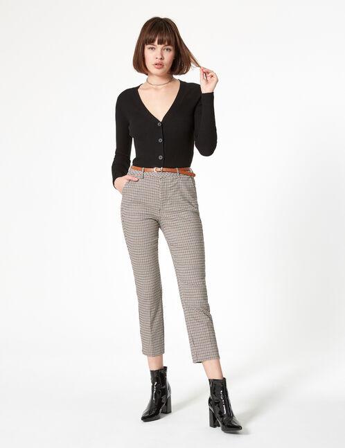 pantalon avec ceinture noir, blanc et camel