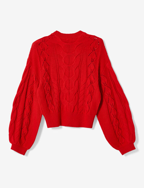 Red cable and openwork knit jumper