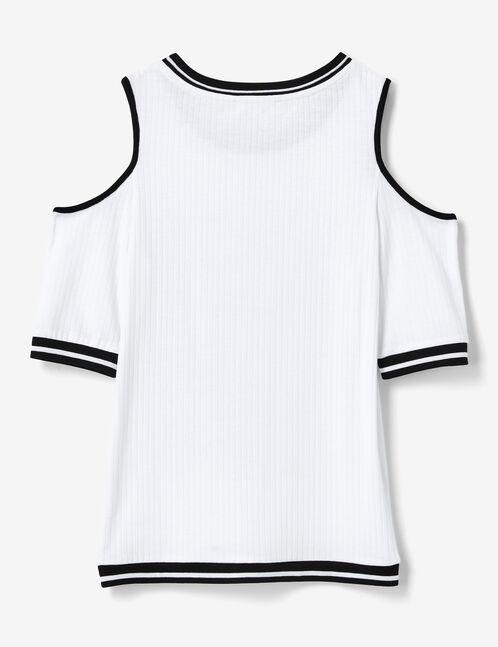 White cold shoulder T-shirt