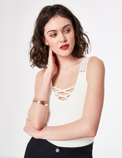Cream bodysuit with lace and lacing details