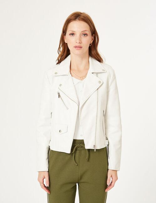 veste biker zip déco blanc